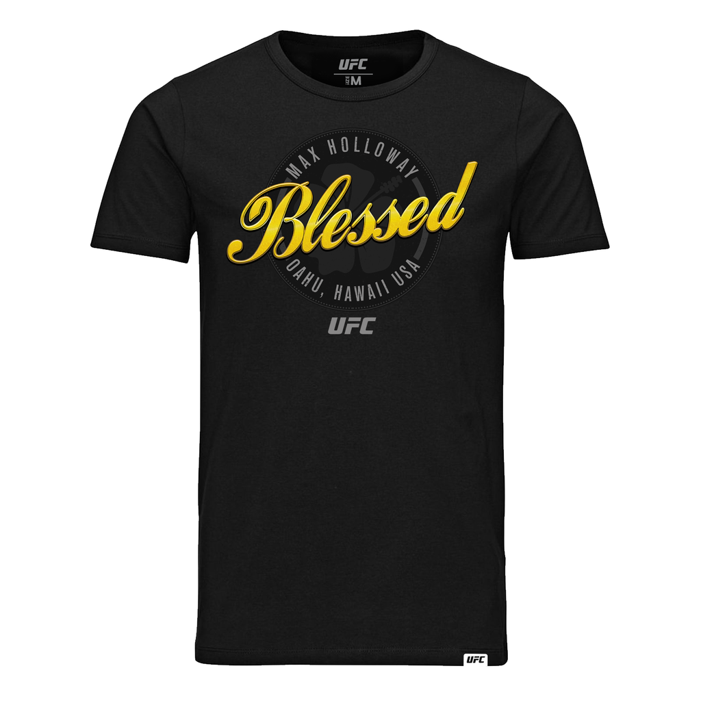 "Men's Max ""Blessed"" Holloway Script UFC T-Shirt - Black"
