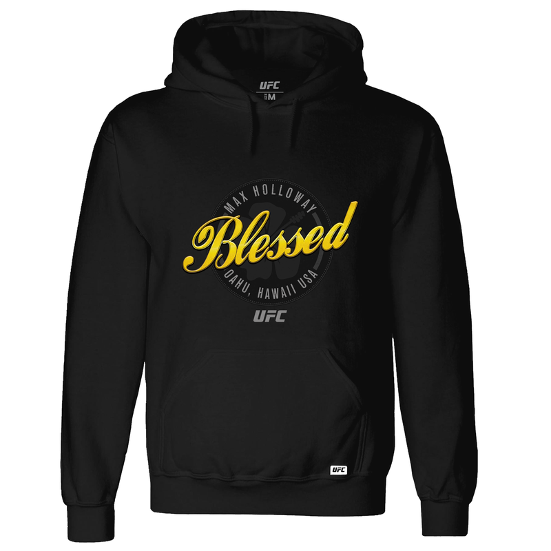 "Men's Max ""Blessed"" Holloway Script UFC Hoodie - Black"