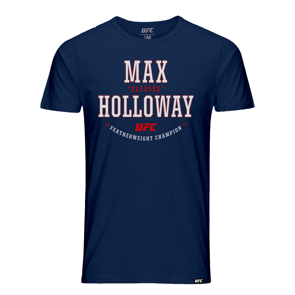 "Men's Max ""Blessed"" Holloway Solid Graphic UFC T-Shirt - Navy"