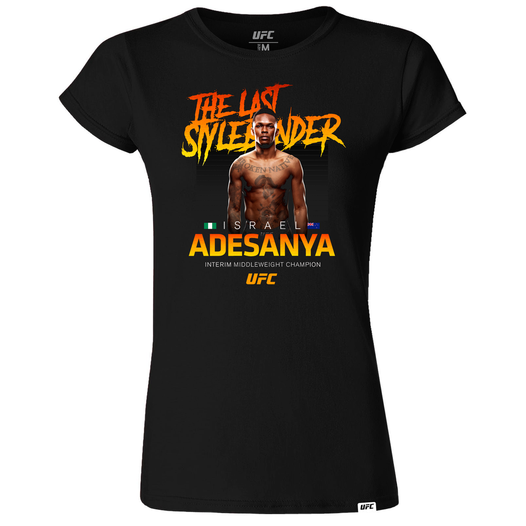 "Women's Israel ""The Last Style Bender"" Adesanya Interim Middleweight Champion T-Shirt- Black"