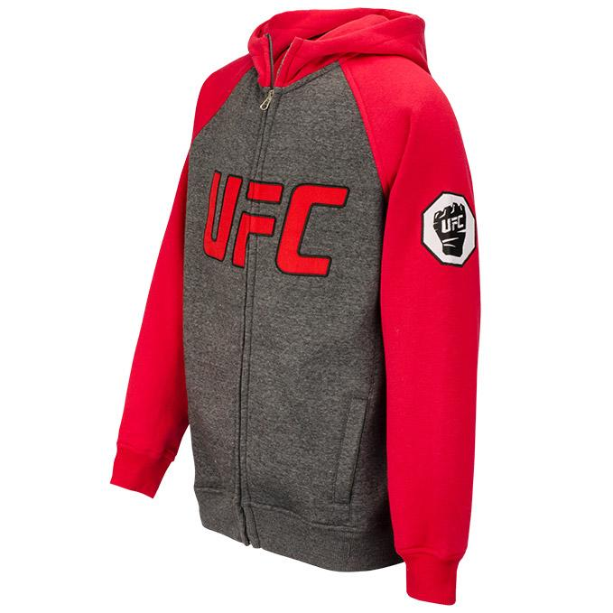 UFC Mens Contrast Raglan Full Zip Hoodie - Red/Grey
