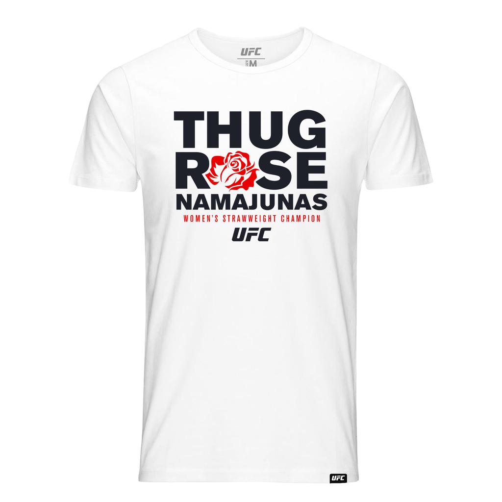 "UFC Men's UFC Rose ""Thug"" Namajunas Graphic T-Shirt- White"