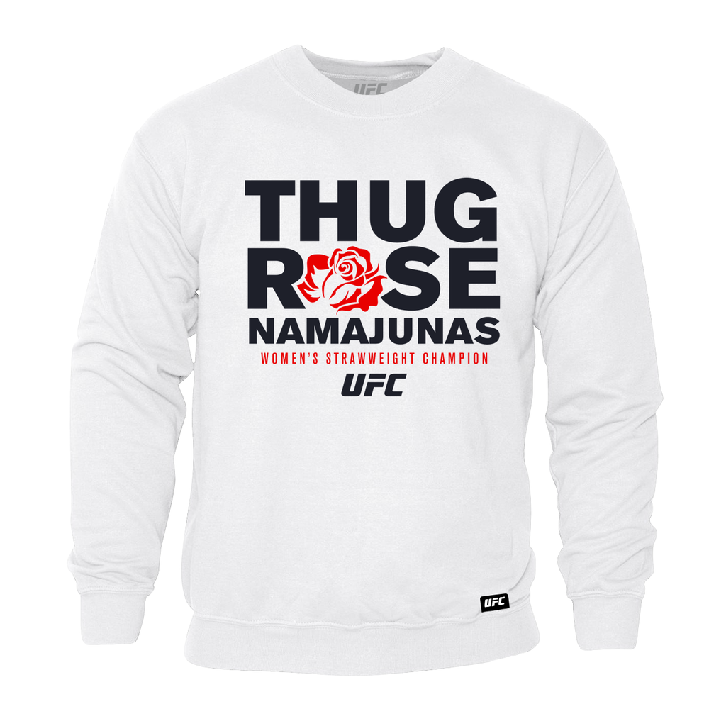 "UFC Men's UFC Rose ""Thug"" Namajunas Graphic Sweatshirt- White"