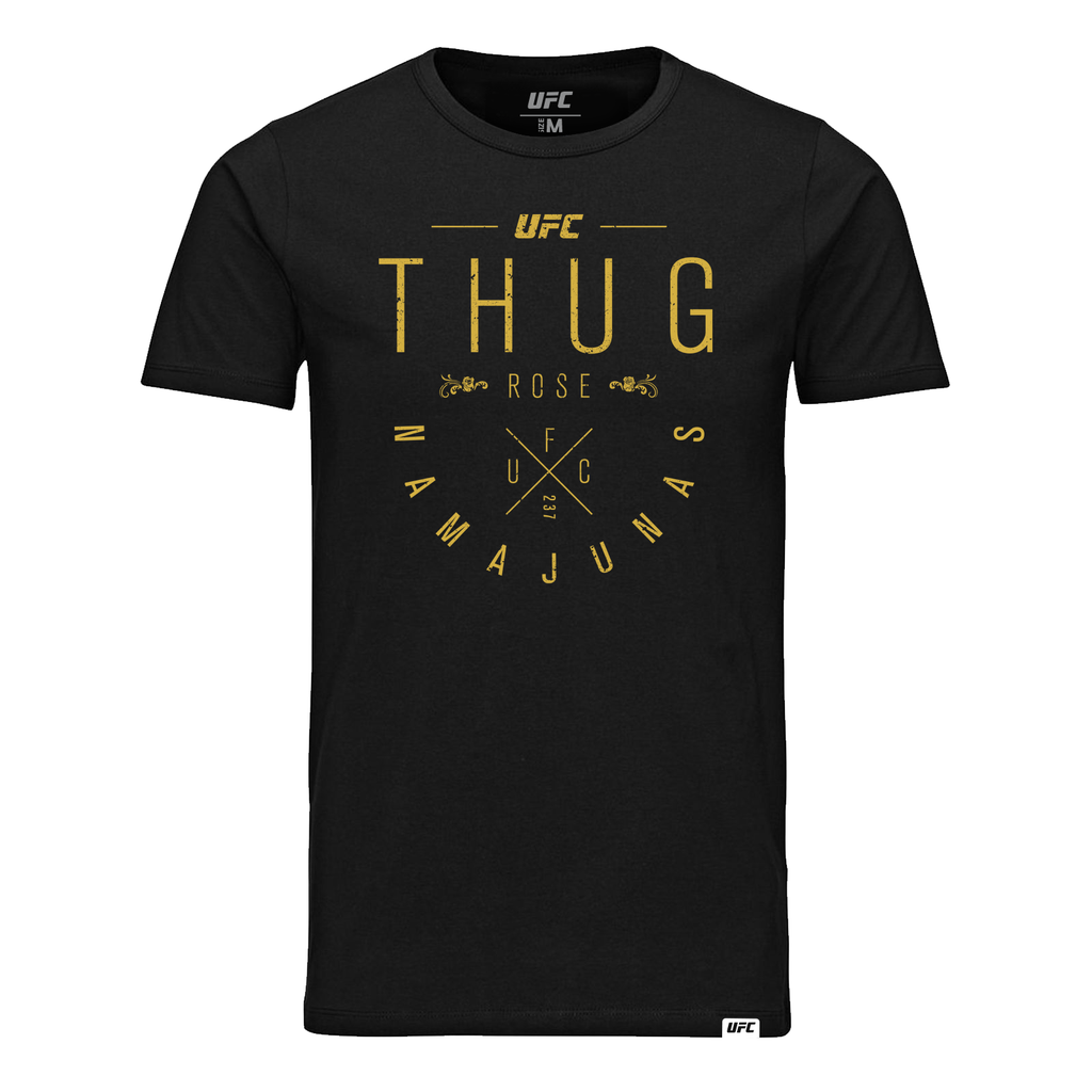 "UFC Men's UFC Rose ""Thug"" Namajunas Script T-Shirt- Black"