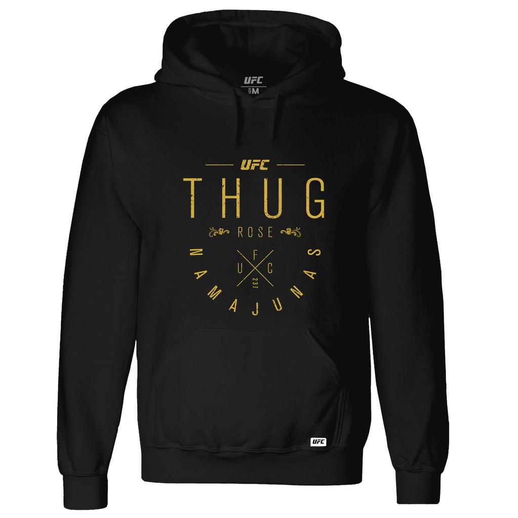 "UFC Men's UFC Rose ""Thug"" Namajunas Graphic Script Hoodie- Black"