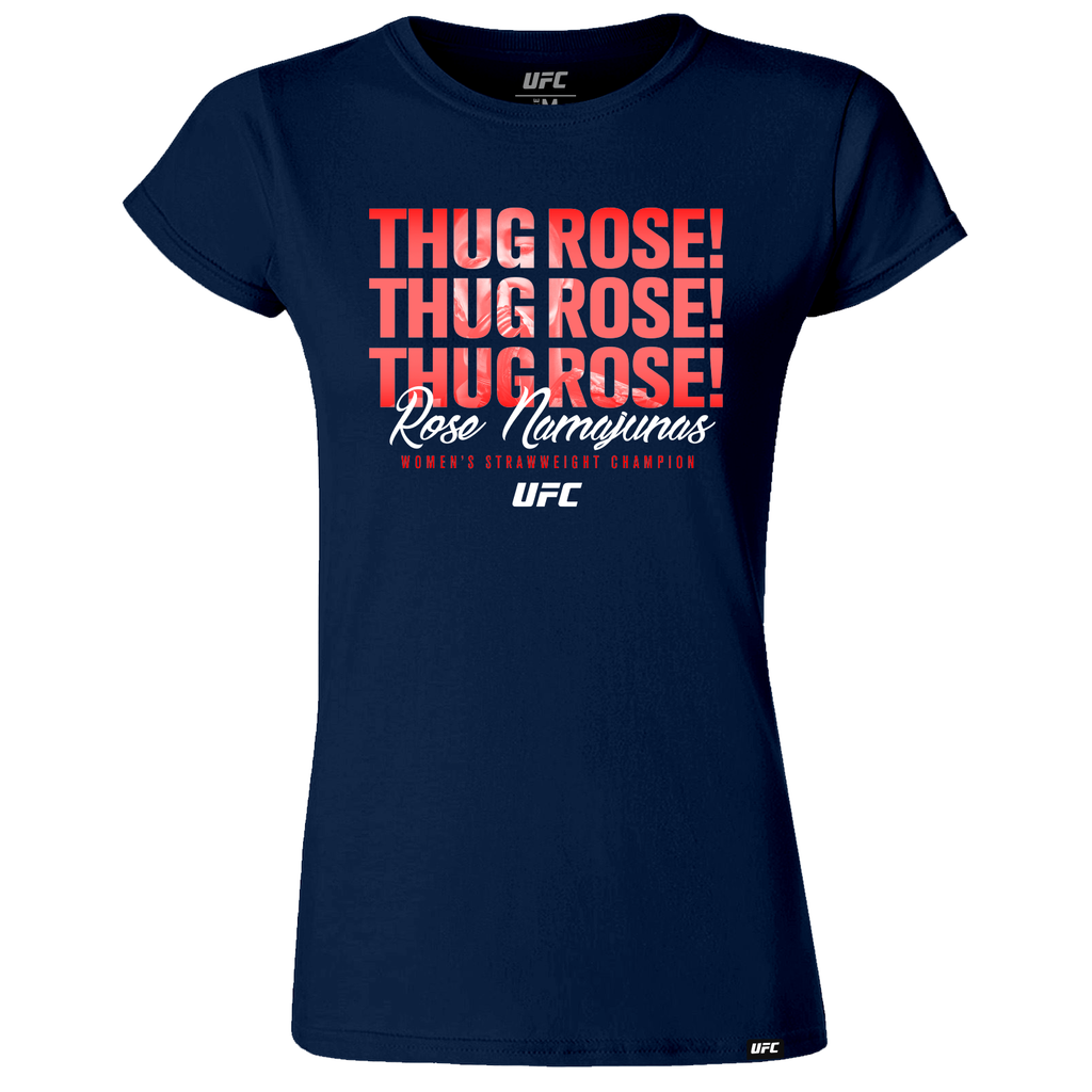 "Women's UFC Rose ""Thug"" Namajunas Quote T-Shirt-Navy"