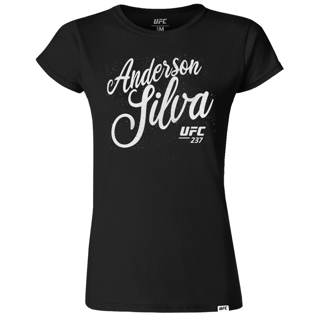 "UFC Women's Anderson ""The Spider"" Silva Script T-Shirt- Black"