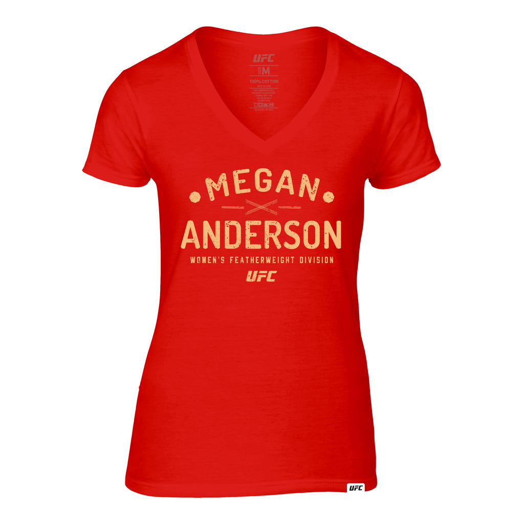 Women's UFC Megan Anderson Graphic V-Neck Tee - Red