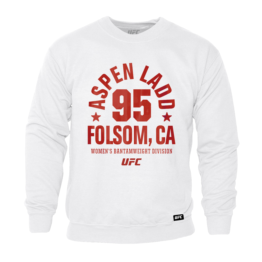 Men's UFC Aspen Ladd Folsom, CA Established 95 Sweatshirt - White