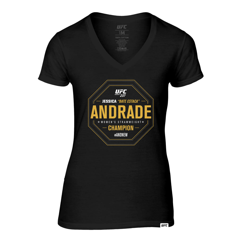 "Women's UFC 237 #AndNew Jessica ""Bate Estaca"" Andrade Strawweight Champion V-Neck Tee- Black"