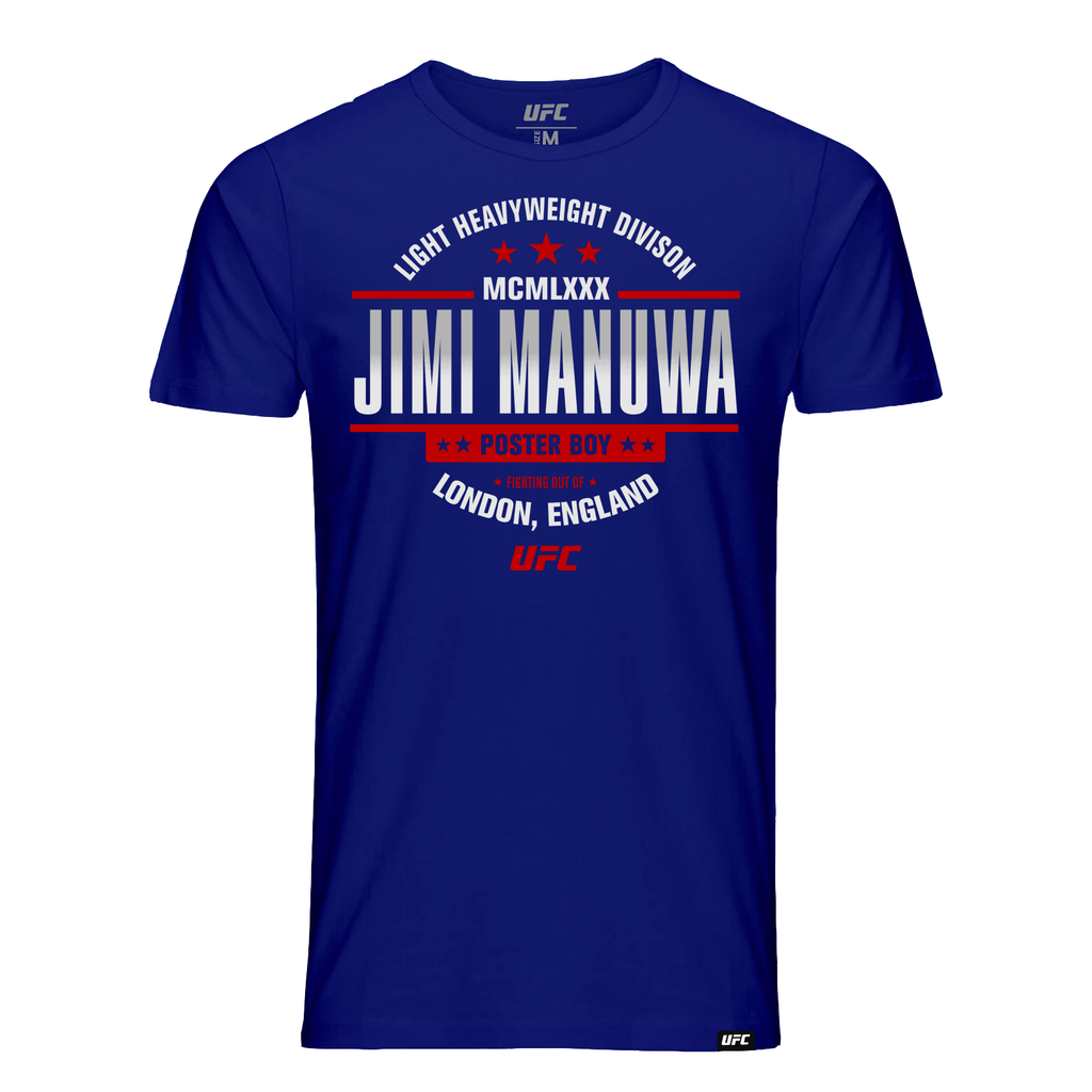 "Men's UFC Jimi ""Poster Boy"" Manuwa MCMLXXX Graphic T-Shirt- Royal"