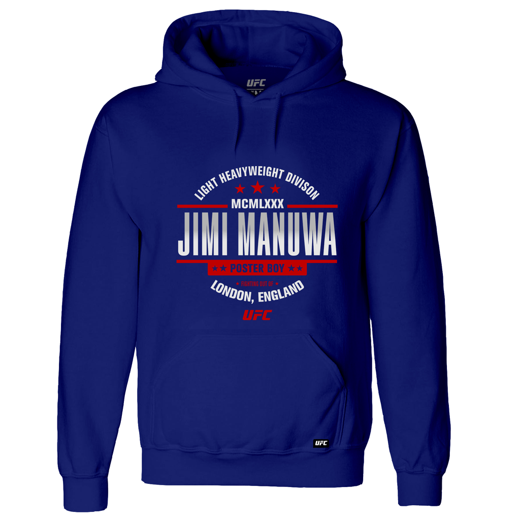 "Men's UFC Jimi ""Poster Boy"" Manuwa MCMLXXX Graphic Hoodie- Royal"