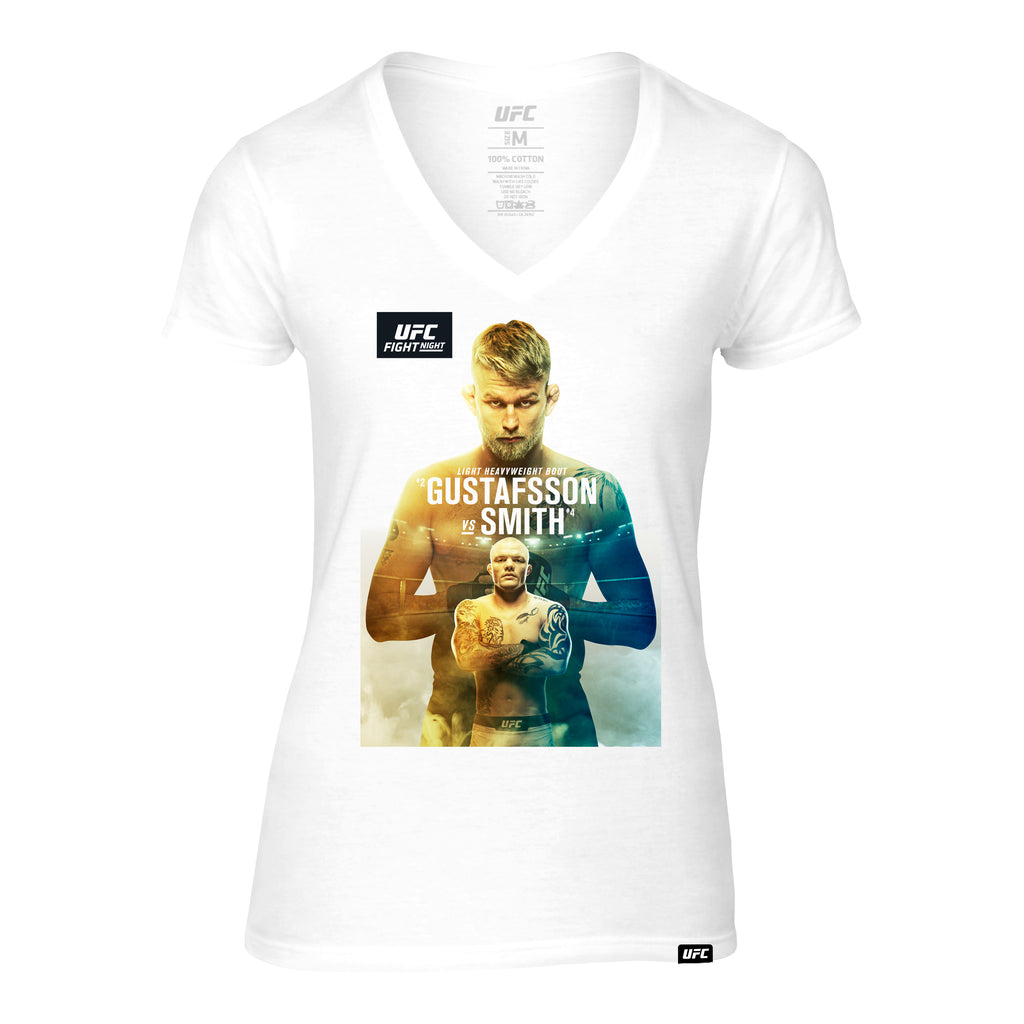 Women's Fight Night Stockholm Gustafsson vs. Smith Event V-Neck Tee- White