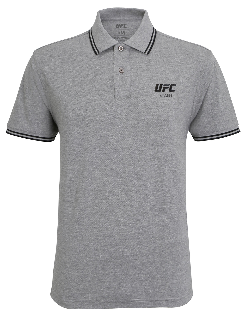 Men's UFC Classic Fit Tipped Polo Embroidered logo-Heather Grey/Black
