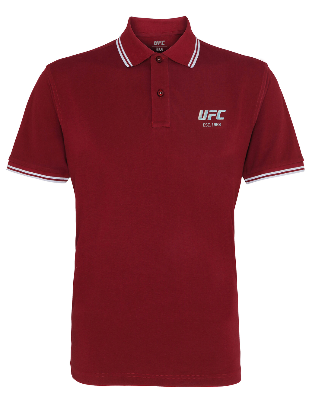 Men's UFC Classic Fit Tipped Polo Embroidered logo-Heather Burgundy/Sky