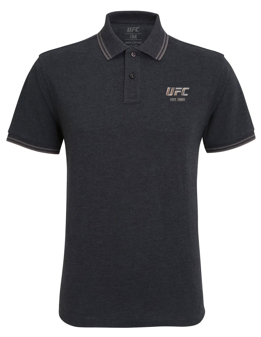 Men's UFC Classic Fit Tipped Polo Embroidered logo-Heather Black/Charcoal