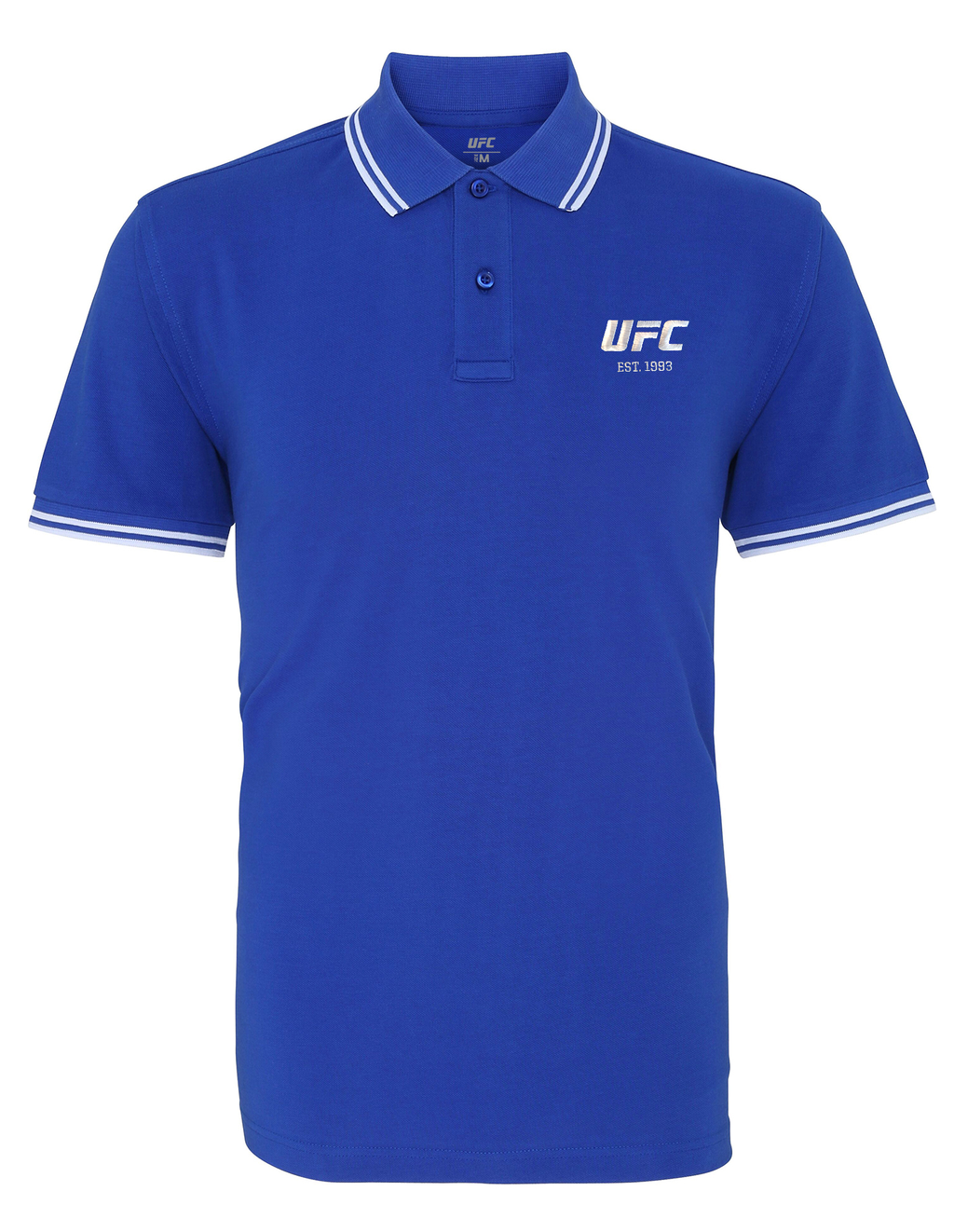 Men's UFC Classic Fit Tipped Polo Embroidered logo- Royal/White