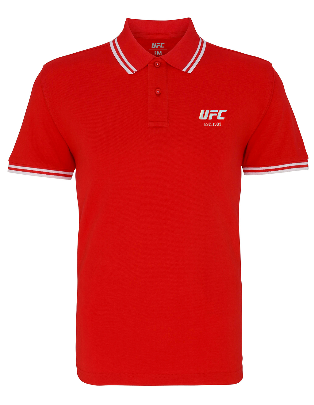 Men's UFC Classic Fit Tipped Polo Embroidered logo-Red/White