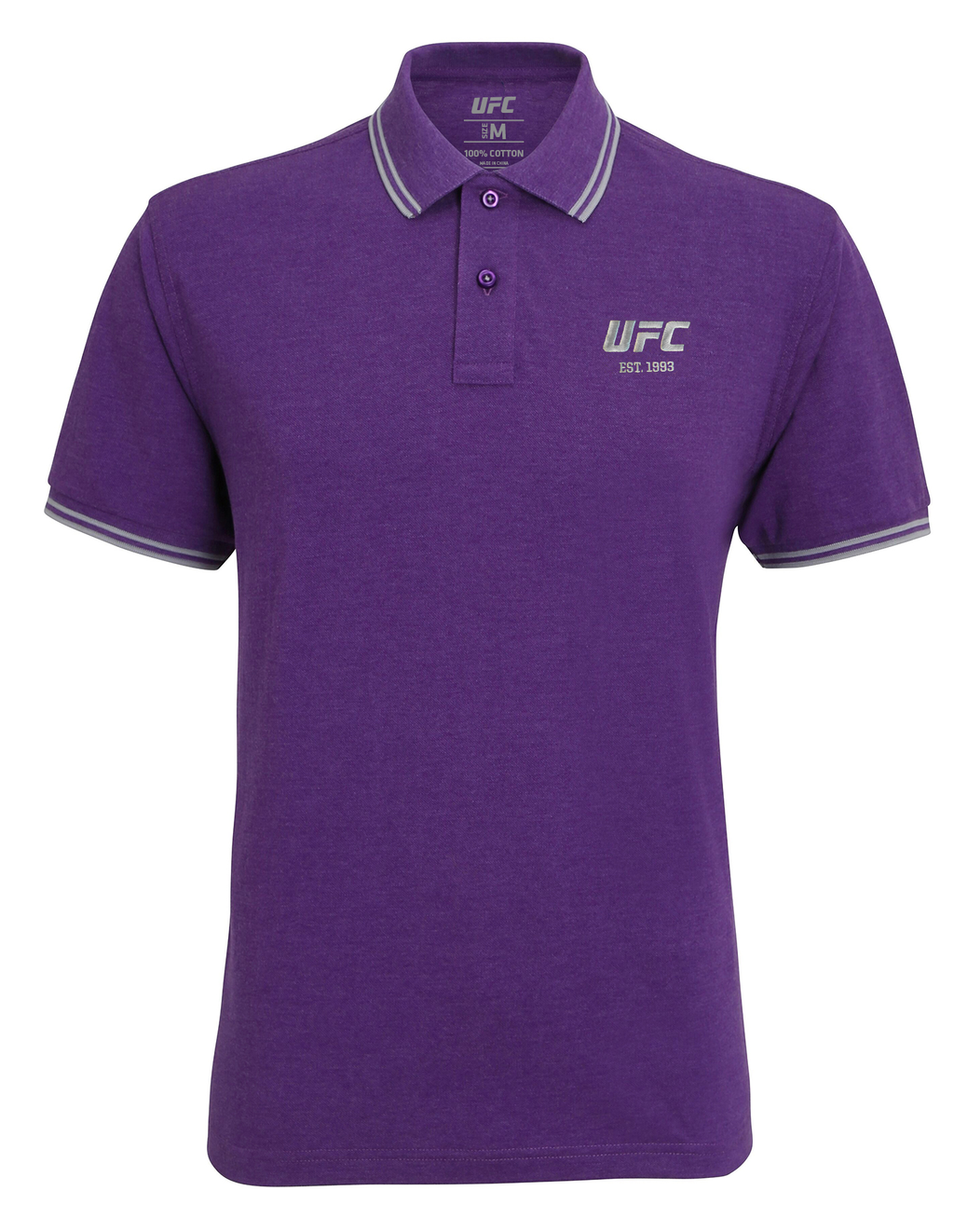 Men's UFC Classic Fit Tipped Polo Embroidered logo-Heather Purple/Heather Grey