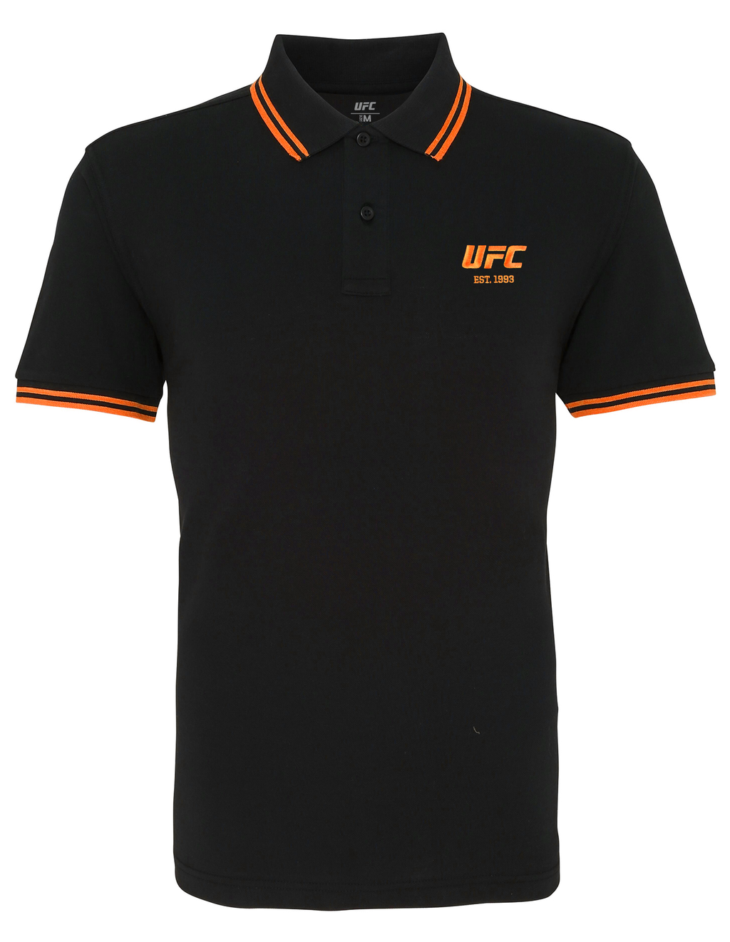 Men's UFC Classic Fit Tipped Polo Embroidered logo-Black/Orange