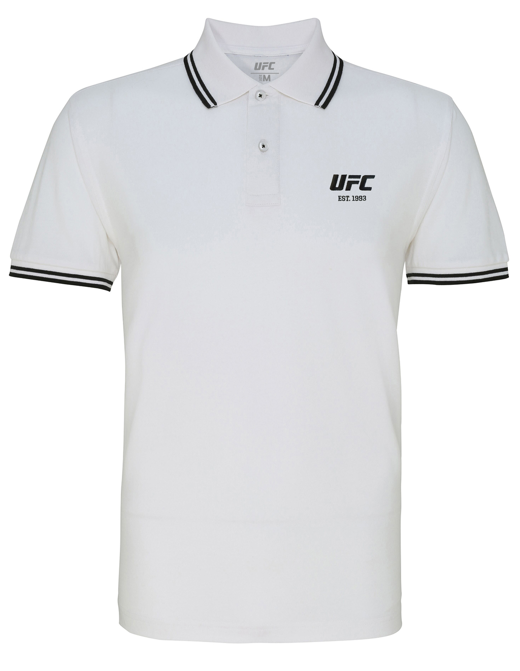 Men's UFC Classic Fit Tipped Polo Embroidered logo-White/Black