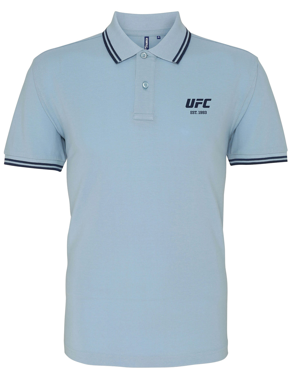Men's UFC Classic Fit Tipped Polo Embroidered logo Sky/Navy