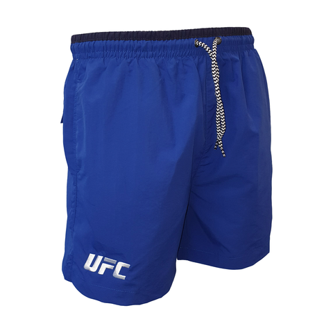 UFC White Logo Swim Shorts - Navy/Red
