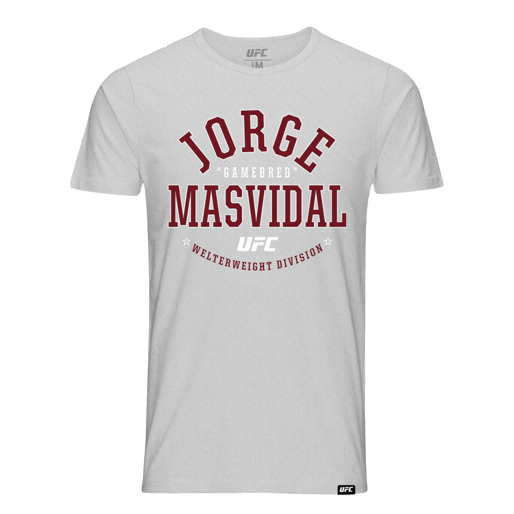 "Men's UFC Jorge ""Gamebred"" Masvidal College Graphic T-Shirt- Grey"