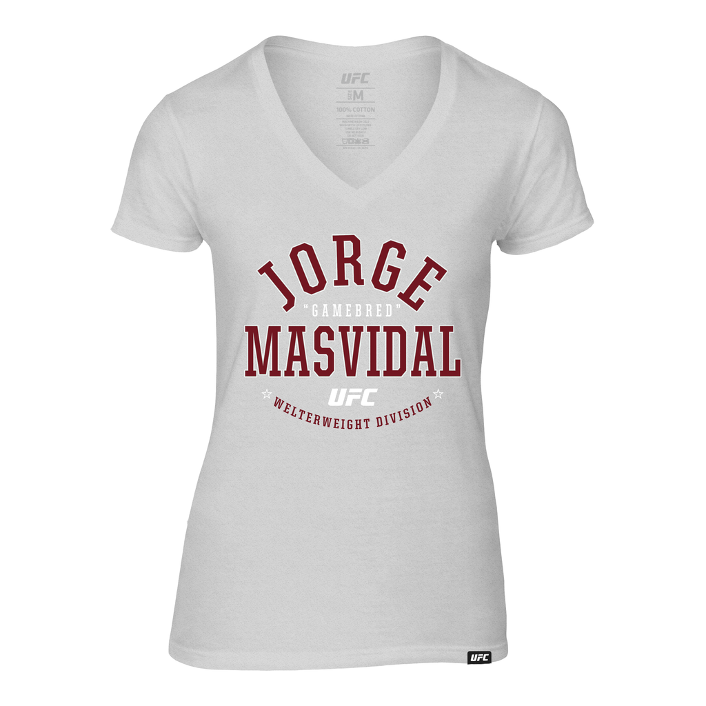 "Women's UFC Jorge ""Gamebred"" Masvidal College Graphic V-Neck Tee- Grey"