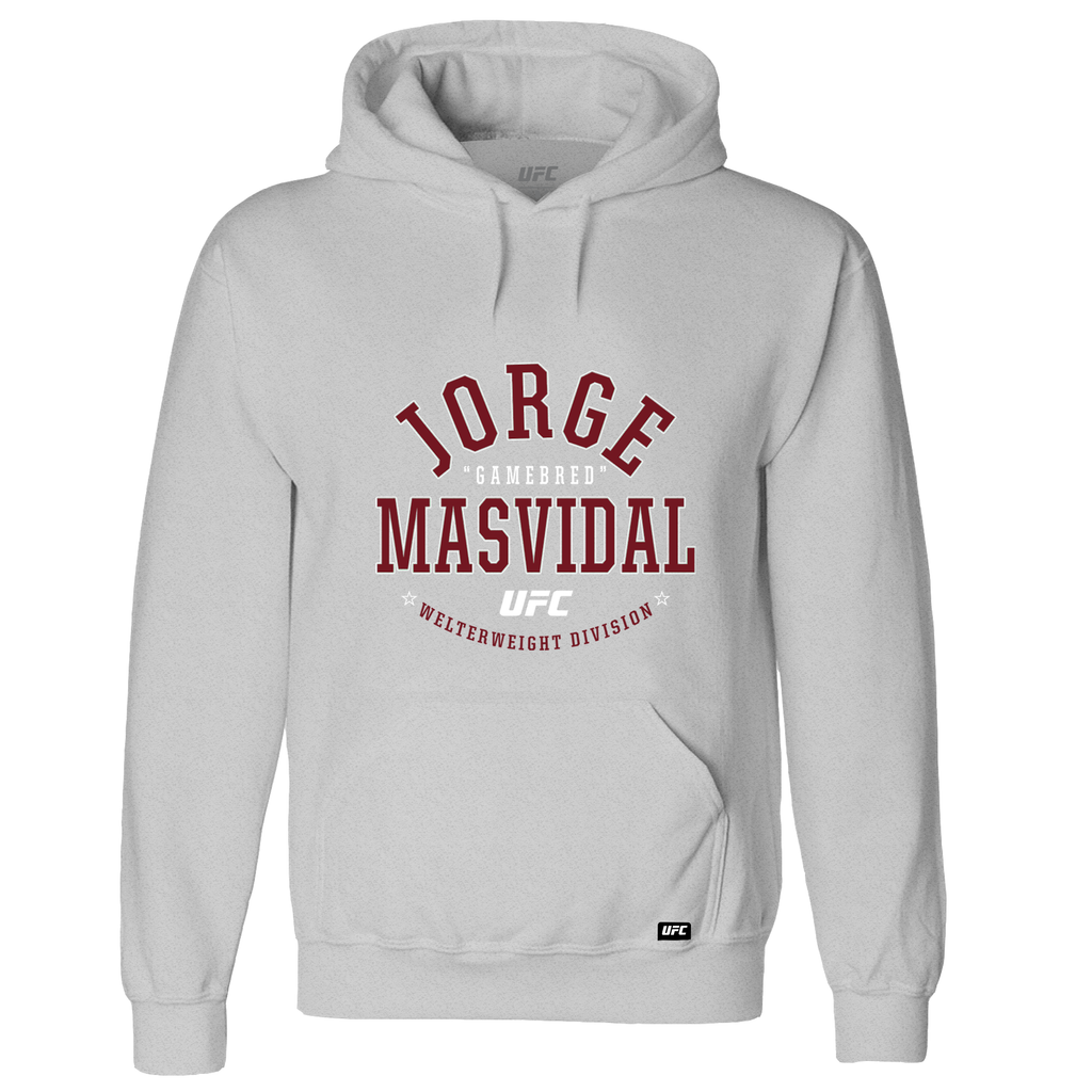 "Men's UFC Jorge ""Gamebred"" Masvidal College Graphic Hoodie- Grey"