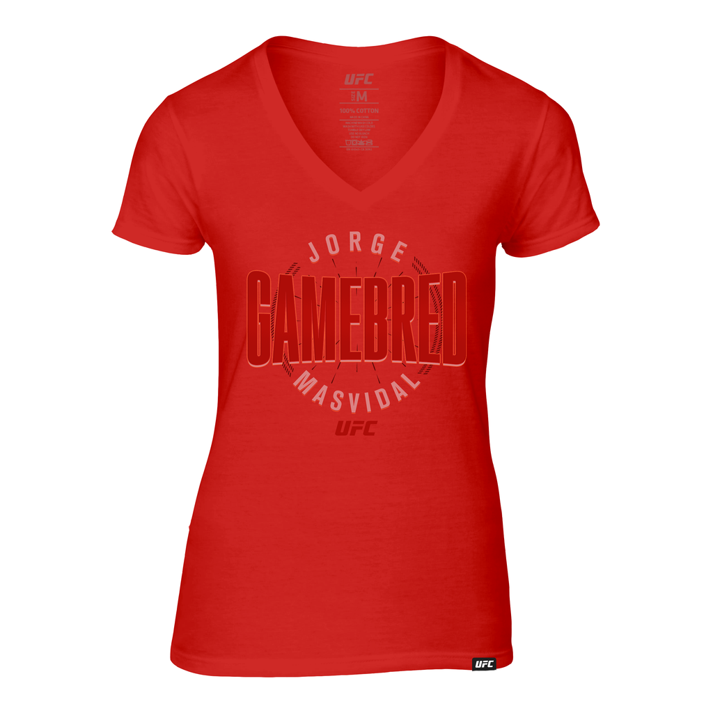 "Women's UFC Jorge ""Gamebred"" Masvidal Fade V-Neck Tee- Red"