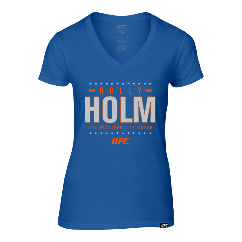 "Women's UFC Holly ""The Preachers Daughter"" Holm Champion Star Graphic T-Shirt -Royal"