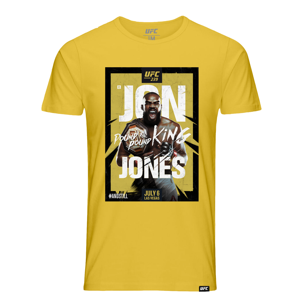 #AndStill UFC 239 Men's Jon Jones Poster T-Shirt- Yellow