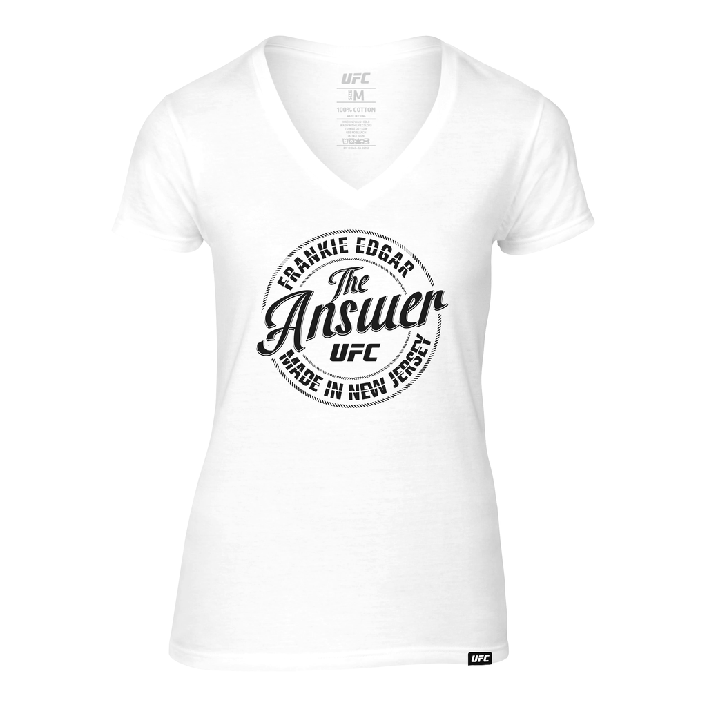 "Women's UFC Frankie ""The Answer"" Edgar Circle Graphic V-Neck Tee-White"