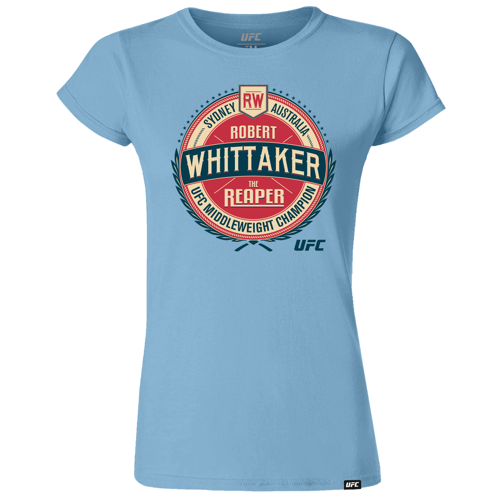 "Women's Robert ""The Reaper"" Whittaker Vintage Crest Graphic T-Shirt- Blue"