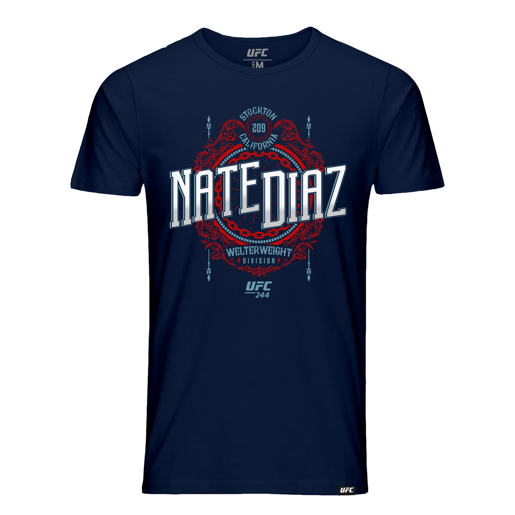 Men's UFC Nate Diaz Stockton 209 Crest Graphic T-Shirt-Navy