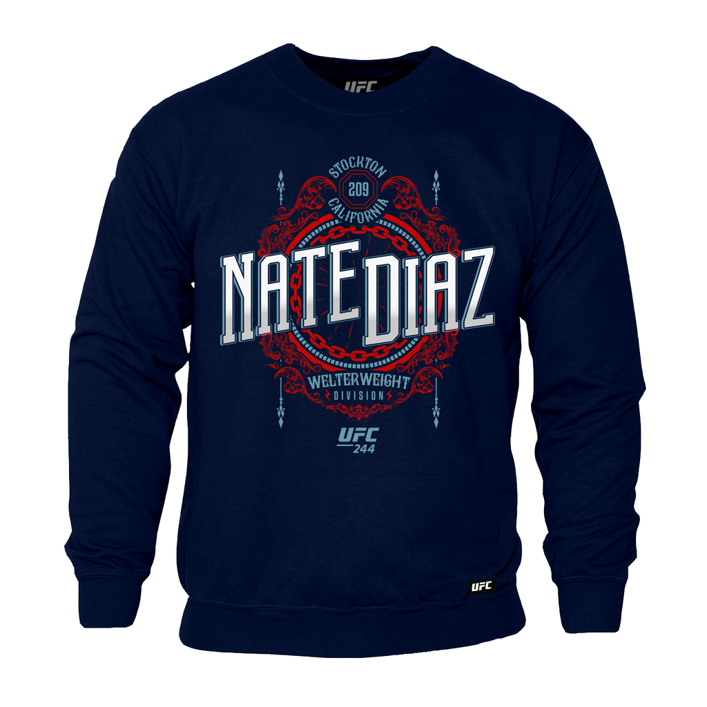 Men's UFC 244 Nate Diaz Stockton 209 Crest Graphic Sweatshirt-Navy