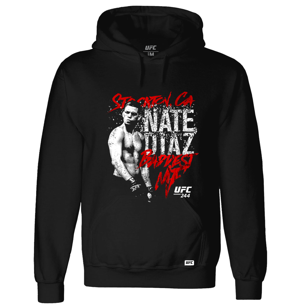 Men's UFC 244 Nate Diaz Stockton 209 Baddest MF Graphic Hoodie-Black