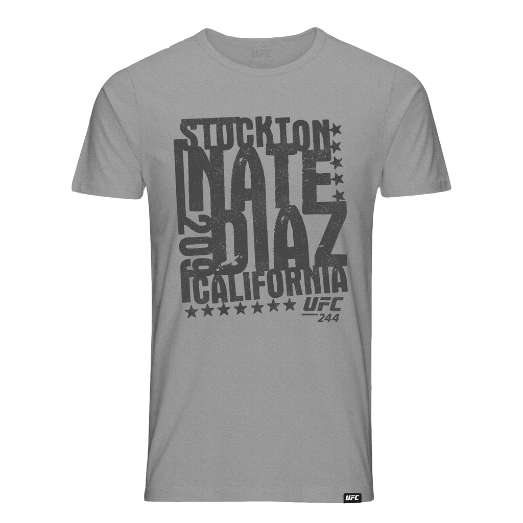 Men's UFC Nate Diaz Stockton 209 Stamp T-Shirt-Grey