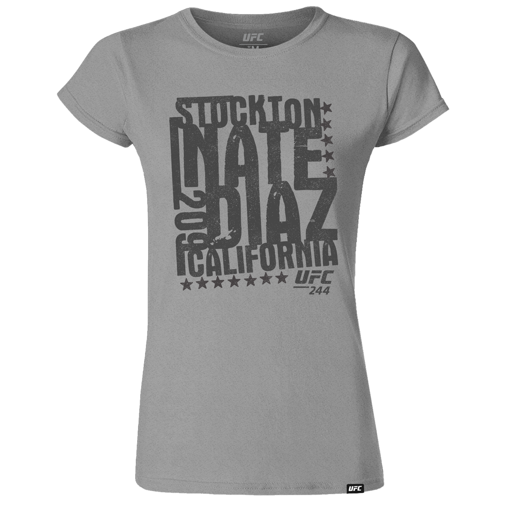 Women's UFC 244 Nate Diaz Stockton 209 Stamp T-Shirt-Grey