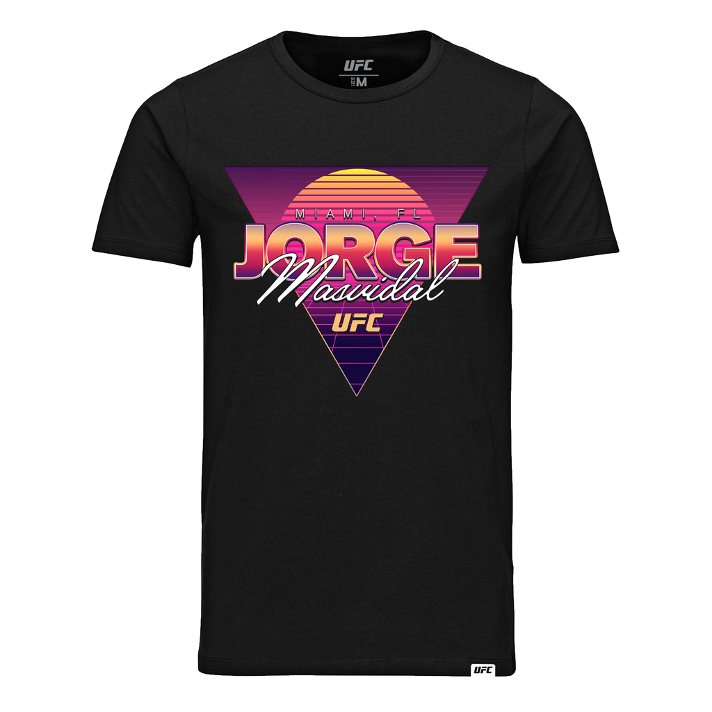 "Men's UFC 244 Jorge ""Gamebred"" Masvidal Retro Miami Graphic T-Shirt- Black"