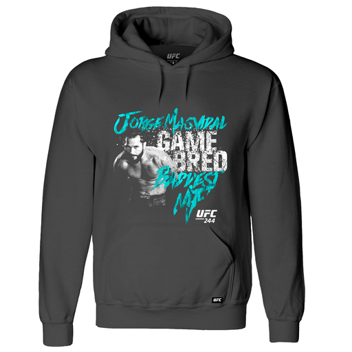 "Men's UFC 244 Jorge ""Gamebred"" Masvidal Baddest MF Graphic Hoodie-Charcoal"