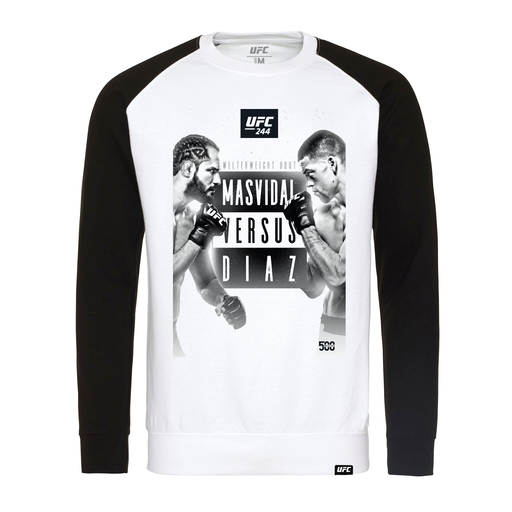 Men's UFC 244 Masvidal vs Diaz Commemorative Event Graphic Raglan Long Sleeve Tee Black/White