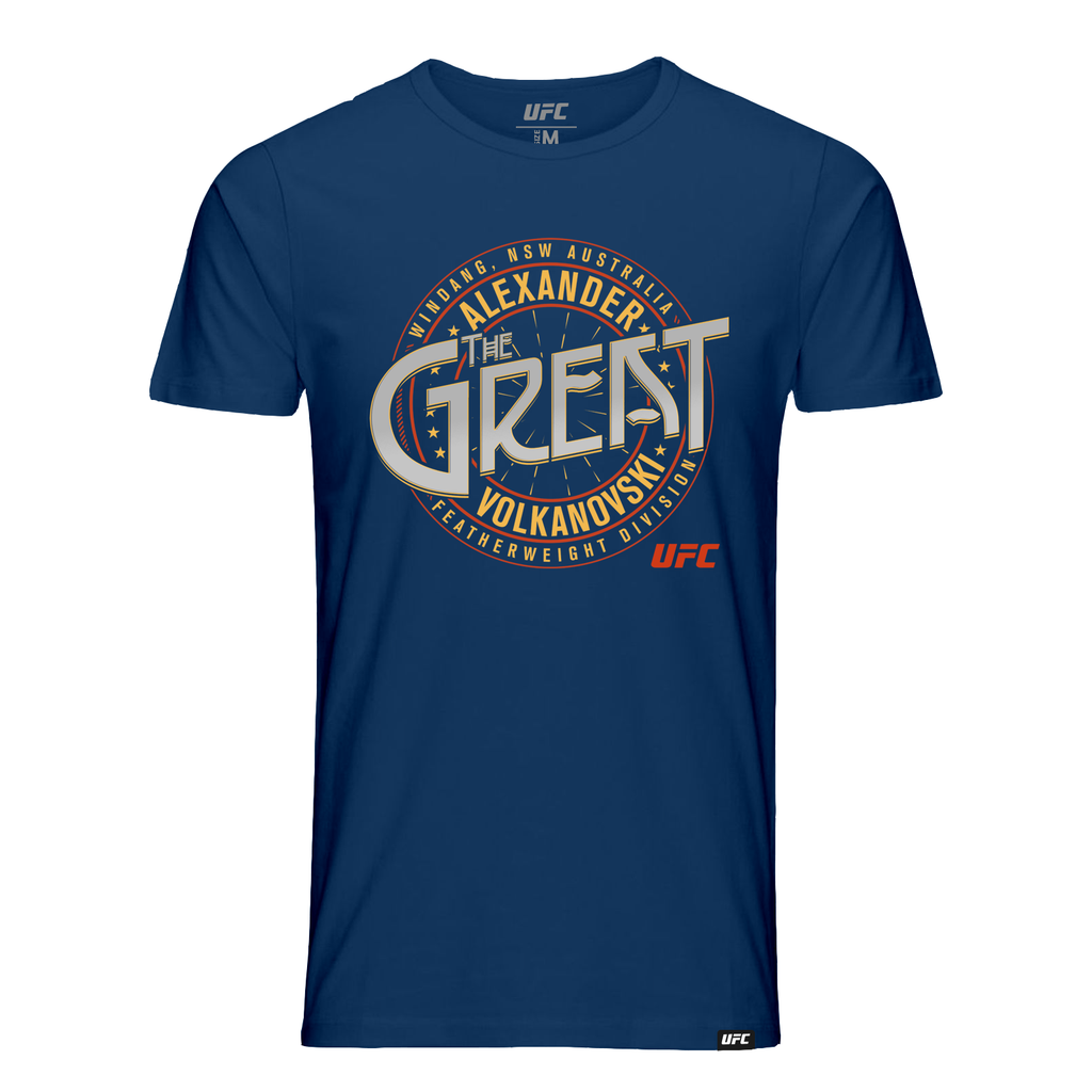 "Men's UFC 245 Alexander ""The Great"" Volkanovski Crest -T-Shirt-Navy"