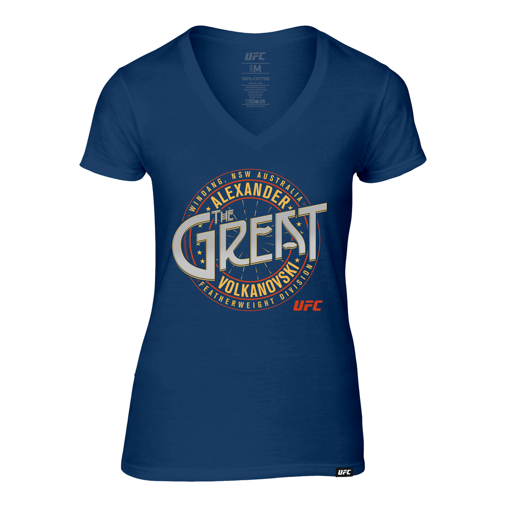 "Women's UFC 245 Alexander ""The Great"" Volkanovski Crest -V-Neck T-Shirt-Navy"