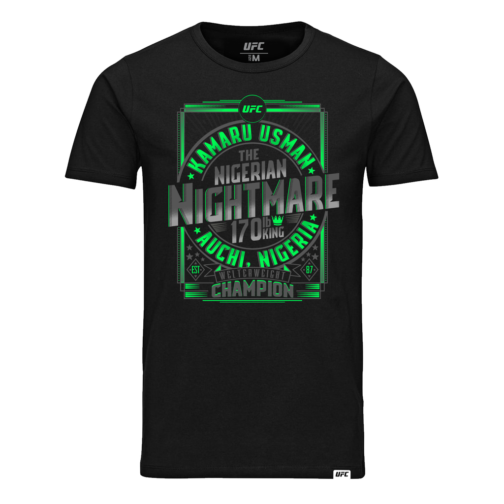 "Men's UFC Kamaru ""The Nigerian Nightmare"" Usman Welterweight Champion T-Shirt-Black"