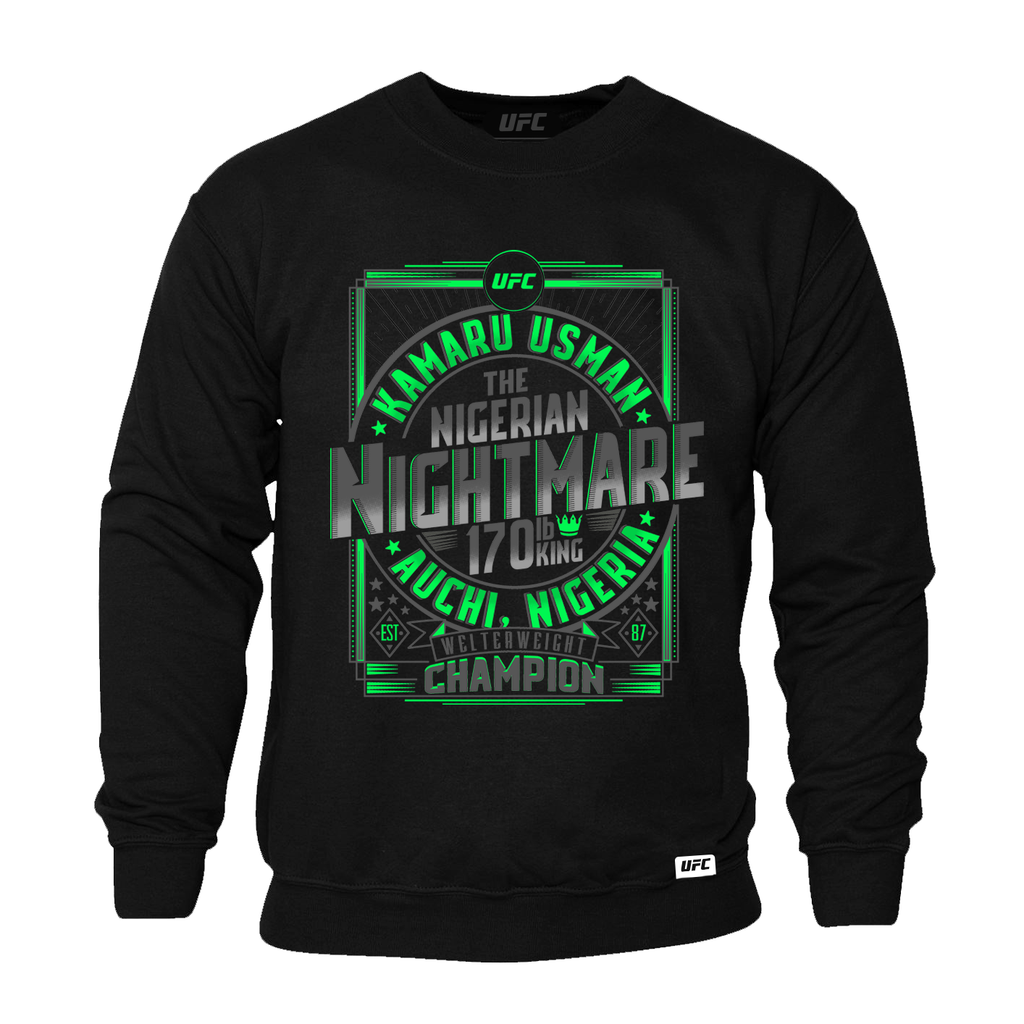 "Men's UFC 245 Kamaru ""The Nigerian Nightmare"" Usman Welterweight Champion Sweatshirt-Black"