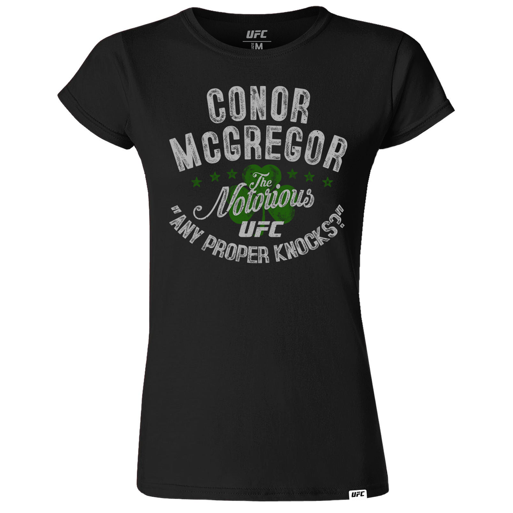 "Women's UFC Conor ""The Notorious"" McGregor ""Any Proper Knocks?"" T-Shirt -Black"