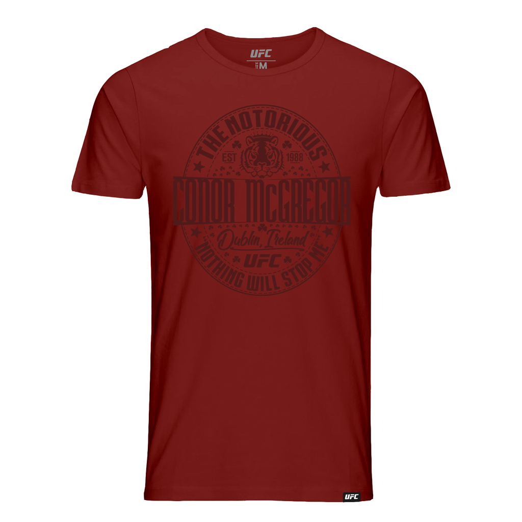 "Men's UFC Conor ""The Notorious"" McGregor Tiger Graphic T-Shirt - Burgundy"