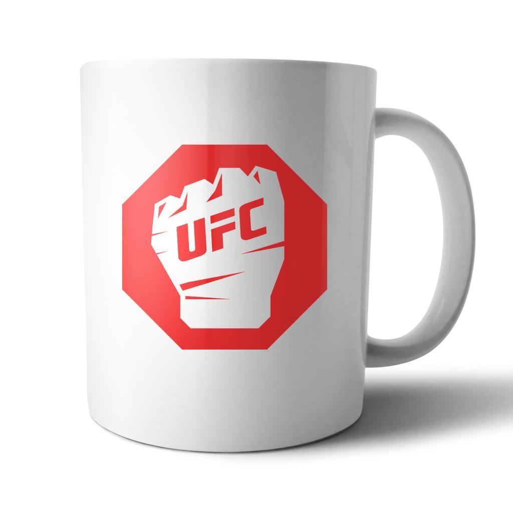 UFC Octagon Red Glove Fist Mug White